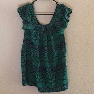 Francesca's Green and Blue Blouse Size M